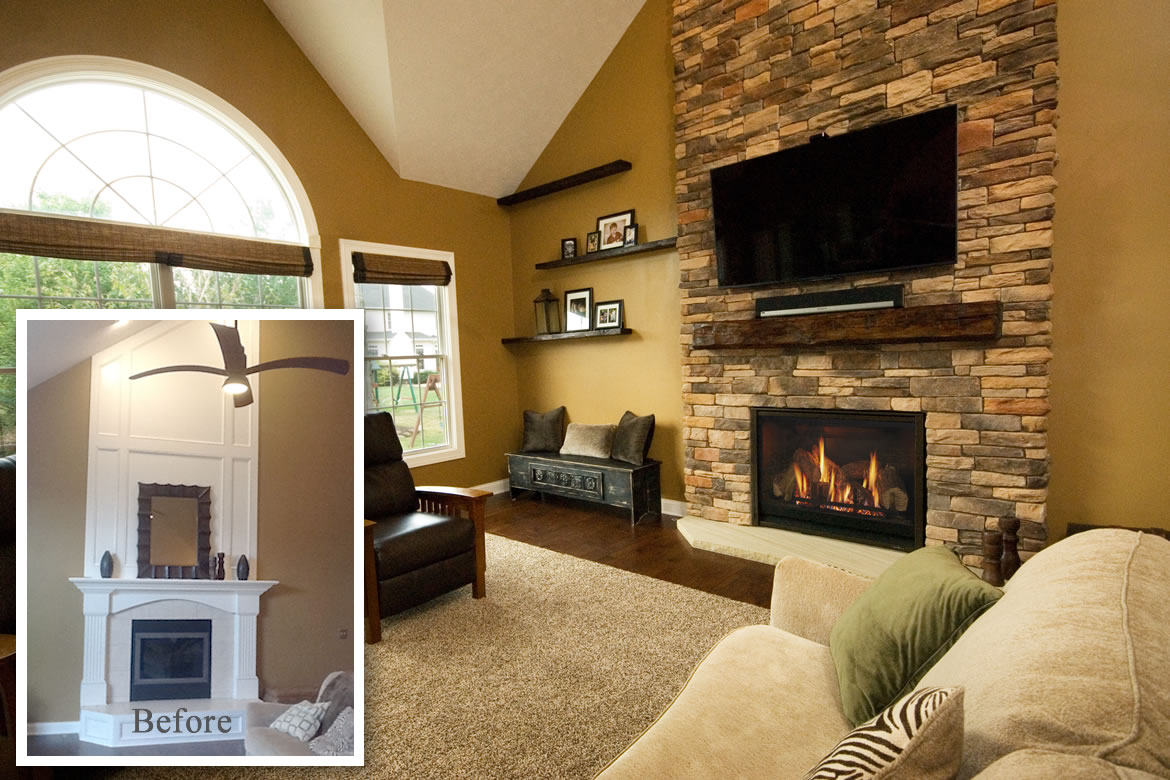 The Oversized White Mantle Didnu0027t Work With The Homey Casual Feel Of This  Strongsville Family Room. Heat U0026 Glou0027s 42u201d 8000CL With A Stone Façade Was A  Much ...