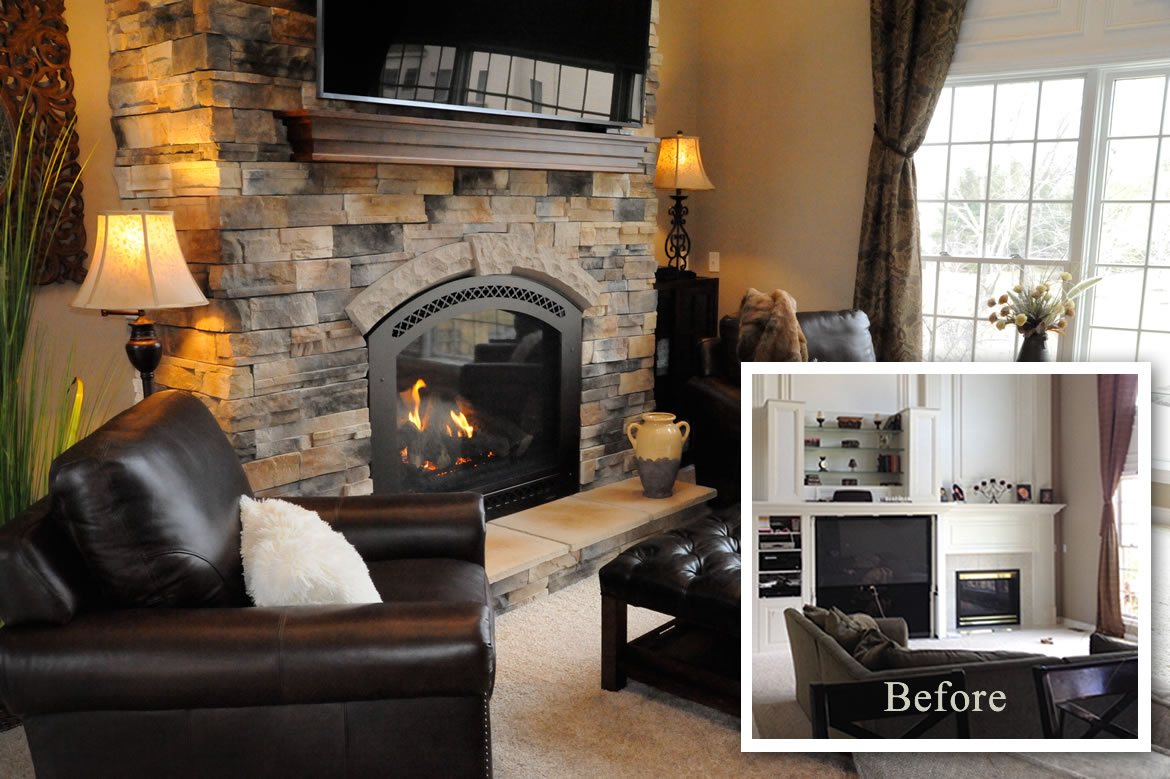 Genial This Is A Dramatic Fireplace Makeover In A Strongsville, Ohio.