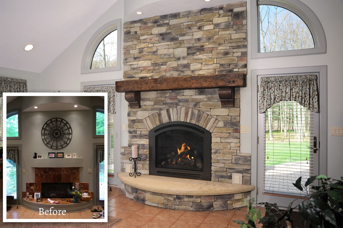 Beautiful Stone Work Helps Devine This Living Room Fireplace Makeover