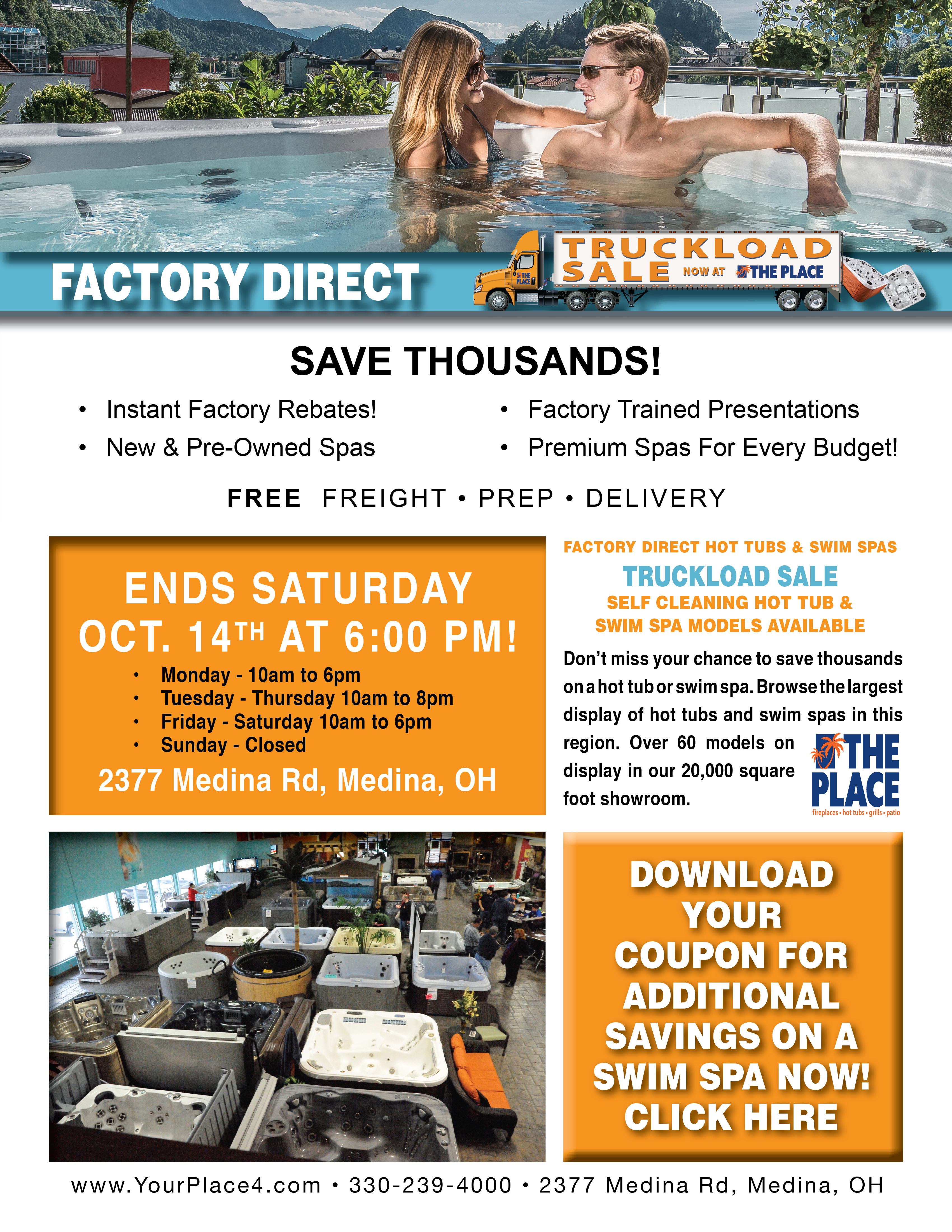Truckload Sale! Hot Tubs & Swim Spas - The Place