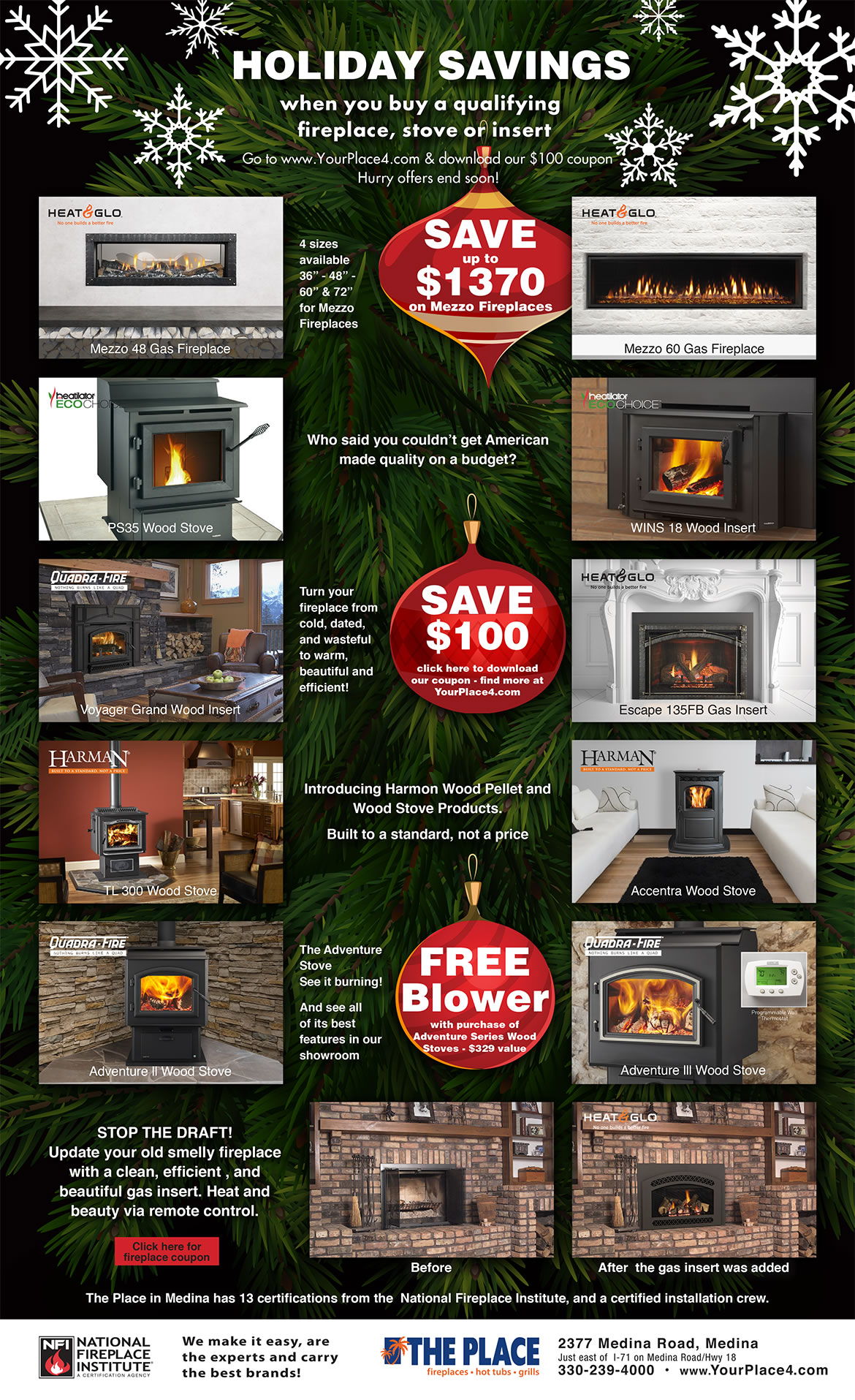 Holiday Fireplace Stove Insert Sale The Place