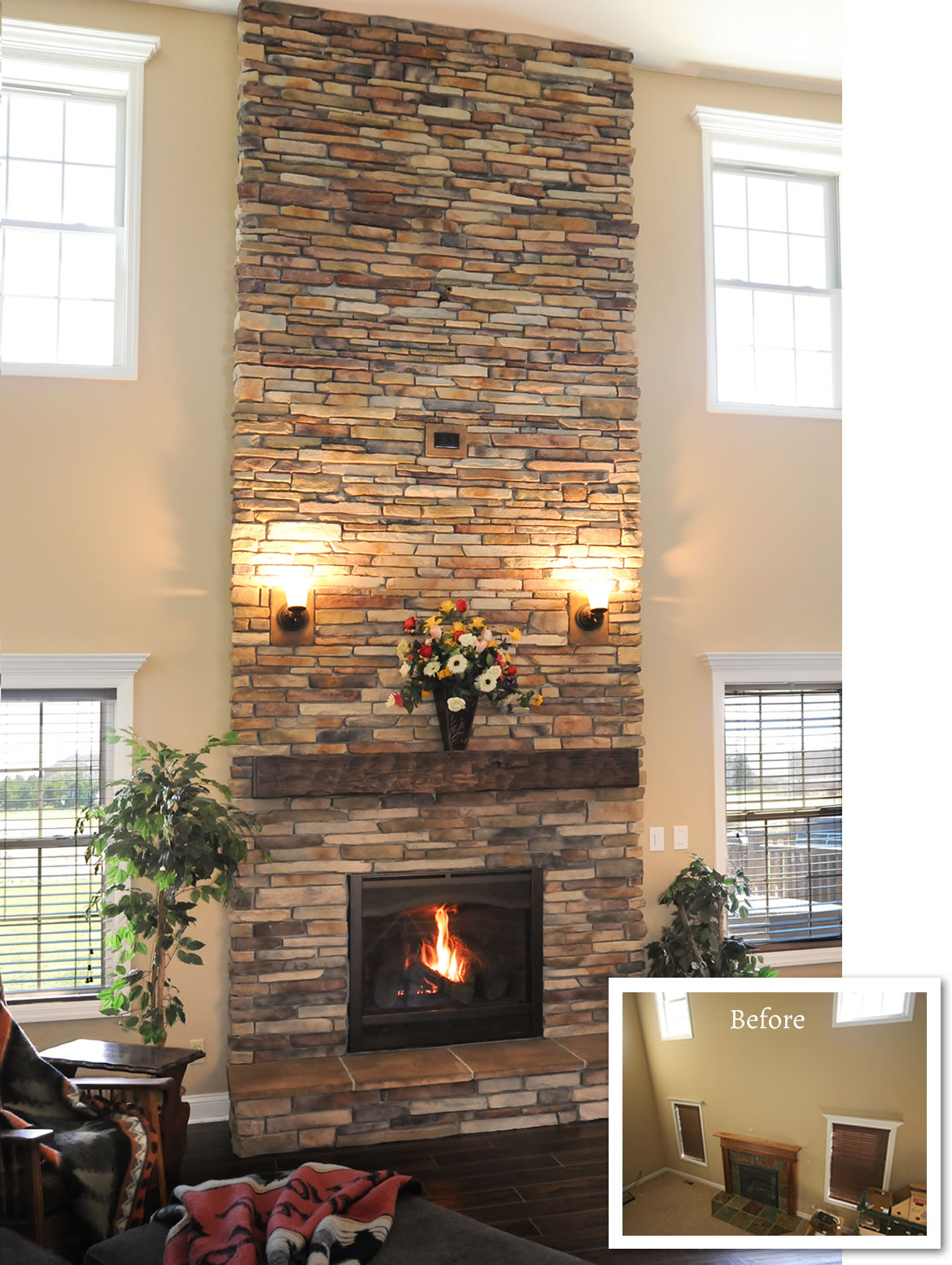 Ceiling Brick Fireplace Makeover