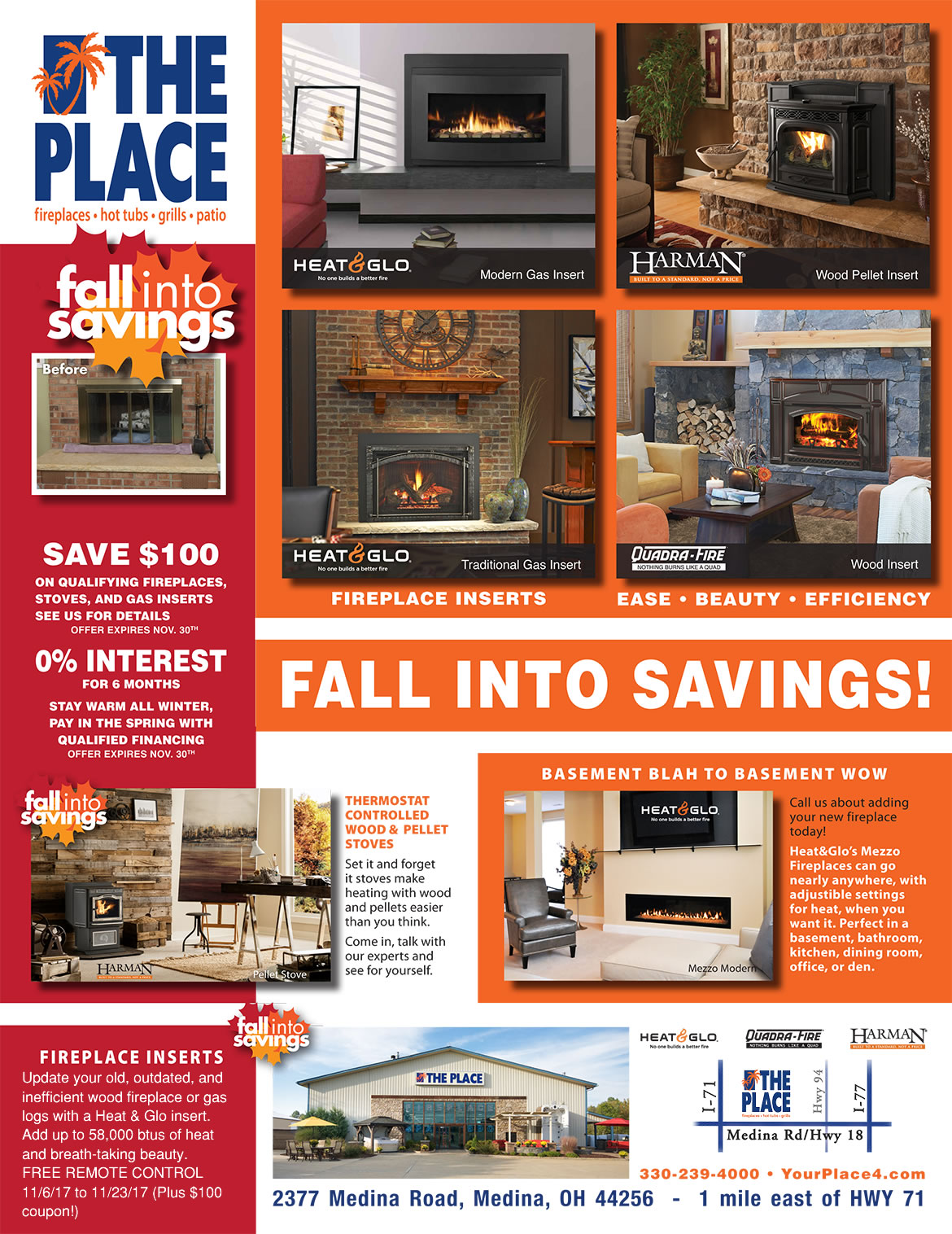 Fall Fireplace Sale at The Place in Medina